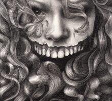 girl, invisible monsters Palahniuk, horror, face, dark, eyes Sticker