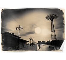 A man walking along the Coney Island boardwalk at sunset with the Parachute Jump in a sepia - colored postcard Poster
