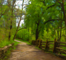 Dreamy Forest Road With Flowers - Impressions Of Spring Sticker
