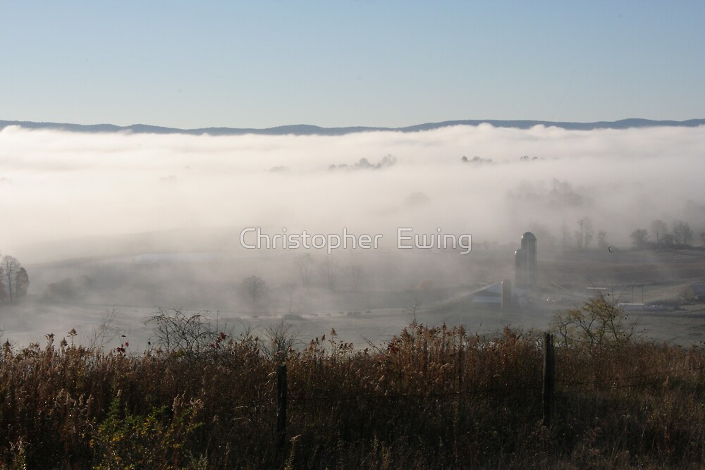 foggy hills of west virginia by Christopher  Ewing