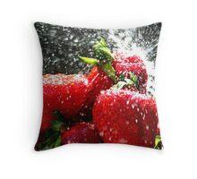 Strawberry Splatter Throw Pillow