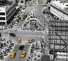 Black and white photograph of a busy Manhattan intersection in the Meatpacking District, with highlighted yellow cabs  by Reinvention