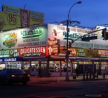 Nathan's famous hot dogs kiosk in Coney Island, at dusk by Reinvention
