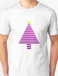 Stripy Purple Christmas Tree T-Shirt