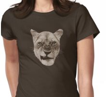 Annoyed Snarling Lion Cat Womens Fitted T-Shirt