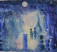 Two little boys in an enchanted, moonlit garden..... by Heidi Norman