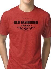 Sterling Draper Cooper  Old Fashioned Bourbon Black on White Tri-blend T-Shirt