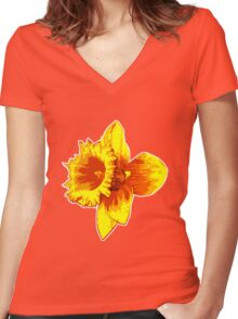 Blood Orange Atomic Daffodil, Fire Flower, Apocalyptic Garden Women's Fitted V-Neck T-Shirt