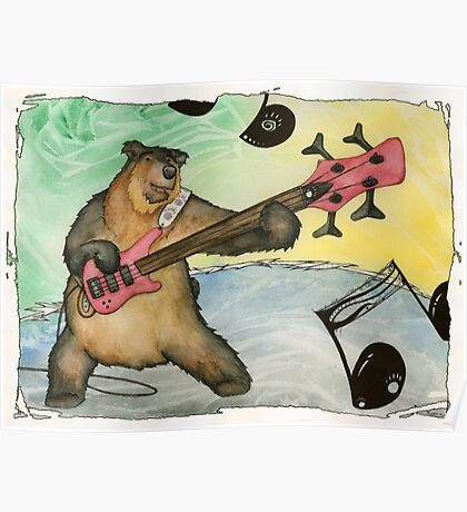Black Bear Bass Notes Poster