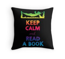 KEEP CALM AND READ A BOOK (RAINBOW) Throw Pillow