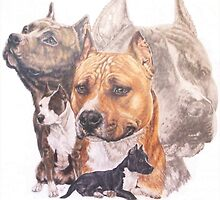 American  Staffordshire Terrier w/Ghost by BarbBarcikKeith
