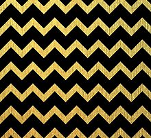 Black and Gold Chevron  by PatiDesigns