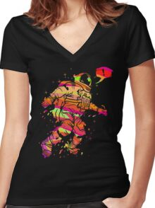 Spaced Out Women's Fitted V-Neck T-Shirt