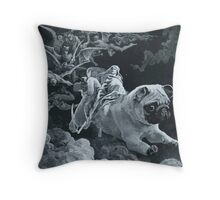 Death Rides a Pale Pug Throw Pillow