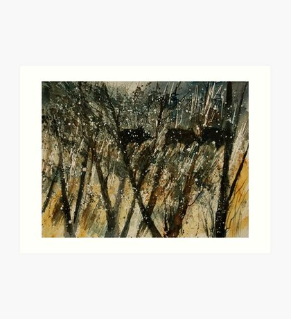 Black wild boars ina dark forest  Art Print