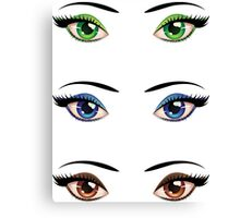 Cartoon female eyes 4 Canvas Print