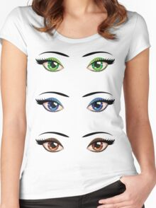 Cartoon female eyes 4 Women's Fitted Scoop T-Shirt