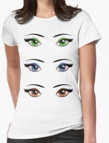Cartoon female eyes 4 Womens Fitted T-Shirt