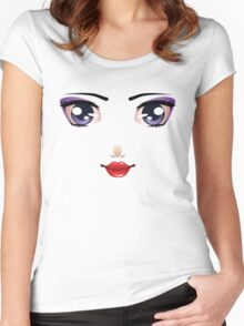 Cartoon female face 5 Women's Fitted Scoop T-Shirt