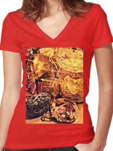 Fairy Dust and Sparkles Women's Fitted V-Neck T-Shirt