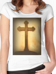 Wooden Altar Cross Women's Fitted Scoop T-Shirt