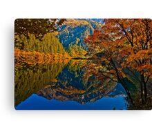 Autumn Reflection in Mirror Lake, Jiuzhaigou Canvas Print