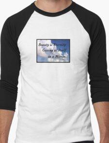 Beauty is Eternity Gazing at Itself in a Mirror. Men's Baseball ¾ T-Shirt