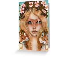 Solstice fox woman portrait Greeting Card