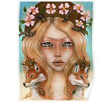 Solstice fox woman portrait Poster