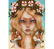 Solstice fox woman portrait Photographic Print