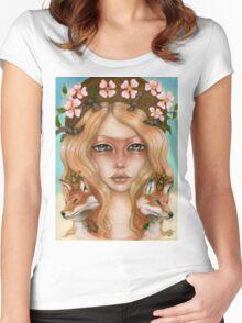 Solstice fox woman portrait Women's Fitted Scoop T-Shirt