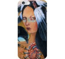 Wounded crow sacred heart woman portrait iPhone Case/Skin