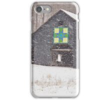 Barn in Snow Storm iPhone Case/Skin