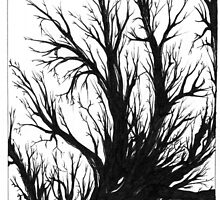 Tree, Black and White Doodle, Pen and Ink by Danielle J. Scott (Smith)