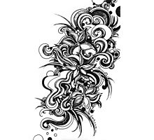Flowers, Black and White Doodle, Pen and Ink Photographic Print