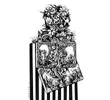 Flowers, Abstract, Black and White Doodle, Pen and Ink Photographic Print