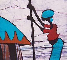African Batik Design Woman Pounding Yam  by Spirit Of The  Wind