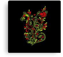 doodle bloom in black Canvas Print