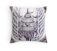 bird cage tree of freedom Throw Pillow