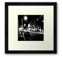Night streetscape of Melbourne - Photo by Xan Framed Print