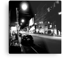 Night streetscape of Melbourne - Photo by Xan Metal Print