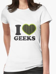 I Love Geeks Binary Womens Fitted T-Shirt