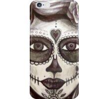 sugar skull tattoo girl art iPhone Case/Skin