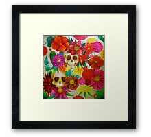 sugar skull Mexican flower art Framed Print