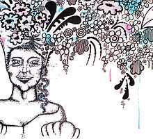 With flowers in her hair by Michelle Walker