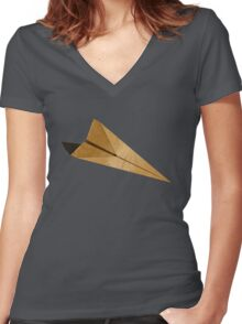 Paper Airplanes of Wood 15 Women's Fitted V-Neck T-Shirt