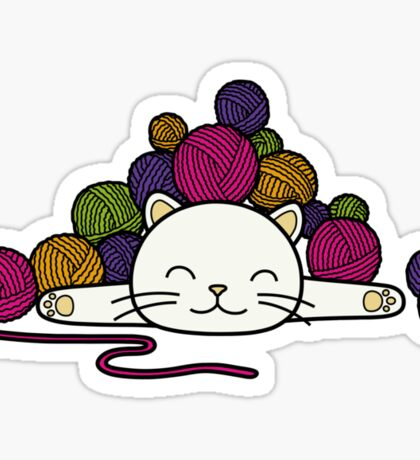 cat and wool 2 Sticker