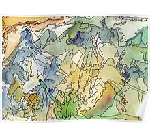 Abstract Watercolor Mountains in Green, Blue, Orange Poster