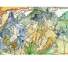 Abstract Watercolor Mountains in Green, Blue, Orange Photographic Print