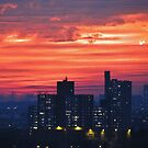 Sunset sky over New York City  by Alberto  DeJesus